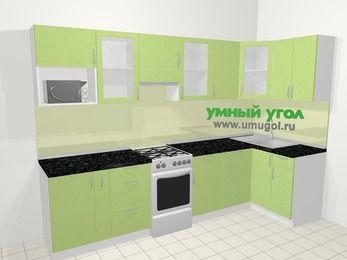 Угловая кухня МДФ металлик в современном стиле 6,3 м², 300 на 120 см, Салатовый металлик, верхние модули 72 см, посудомоечная машина, модуль под свч, отдельно стоящая плита