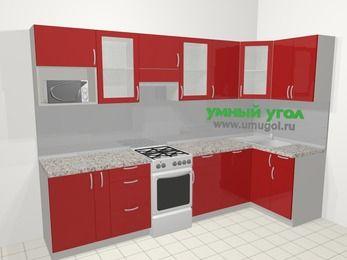 Угловая кухня МДФ глянец в современном стиле 6,3 м², 300 на 120 см, Красный, верхние модули 72 см, посудомоечная машина, модуль под свч, отдельно стоящая плита