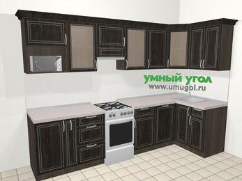 Угловая кухня МДФ патина в классическом стиле 6,3 м², 300 на 120 см, Венге, верхние модули 72 см, посудомоечная машина, модуль под свч, отдельно стоящая плита