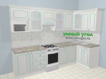 Угловая кухня МДФ патина в стиле прованс 6,3 м², 300 на 120 см, Лиственница белая, верхние модули 72 см, посудомоечная машина, модуль под свч, отдельно стоящая плита