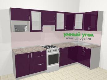 Угловая кухня МДФ глянец в современном стиле 6,3 м², 300 на 120 см, Баклажан, верхние модули 72 см, посудомоечная машина, модуль под свч, отдельно стоящая плита