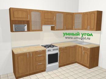Угловая кухня МДФ патина в классическом стиле 6,3 м², 300 на 120 см, Ольха, верхние модули 72 см, посудомоечная машина, модуль под свч, отдельно стоящая плита