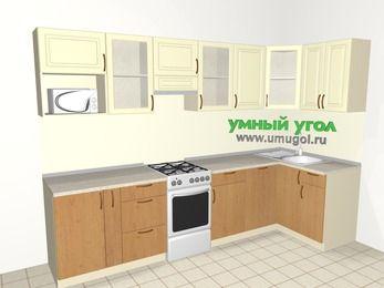 Угловая кухня из МДФ + ЛДСП 6,3 м², 3000 на 1200 мм, Ваниль / Ольха, верхние модули 720 мм, посудомоечная машина, модуль под свч, отдельно стоящая плита
