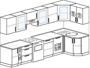 Угловая кухня 6,3 м² (3,0✕1,2 м), верхние модули 72 см, посудомоечная машина, отдельно стоящая плита