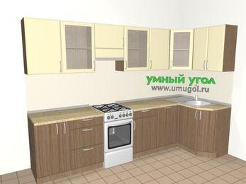 Угловая кухня МДФ матовый 6,3 м², 3000 на 1200 мм, Ваниль / Лиственница бронзовая, верхние модули 720 мм, посудомоечная машина, отдельно стоящая плита