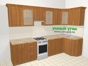 Угловая кухня МДФ матовый в классическом стиле 6,3 м², 300 на 120 см, Вишня, верхние модули 72 см, посудомоечная машина, отдельно стоящая плита