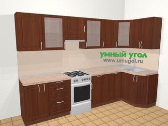 Угловая кухня МДФ матовый в классическом стиле 6,3 м², 300 на 120 см, Вишня темная, верхние модули 72 см, посудомоечная машина, отдельно стоящая плита