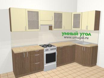 Угловая кухня МДФ матовый в современном стиле 6,3 м², 300 на 120 см, Ваниль / Лиственница бронзовая, верхние модули 72 см, посудомоечная машина, отдельно стоящая плита