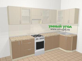 Угловая кухня МДФ матовый в современном стиле 6,3 м², 300 на 120 см, Керамик / Кофе, верхние модули 72 см, посудомоечная машина, отдельно стоящая плита