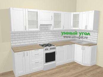 Угловая кухня МДФ матовый  в скандинавском стиле 6,3 м², 300 на 120 см, Белый, верхние модули 72 см, посудомоечная машина, отдельно стоящая плита
