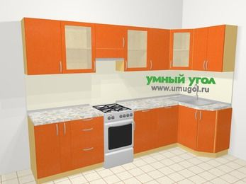Угловая кухня МДФ металлик в современном стиле 6,3 м², 300 на 120 см, Оранжевый металлик, верхние модули 72 см, посудомоечная машина, отдельно стоящая плита