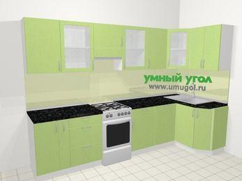 Угловая кухня МДФ металлик в современном стиле 6,3 м², 300 на 120 см, Салатовый металлик, верхние модули 72 см, посудомоечная машина, отдельно стоящая плита