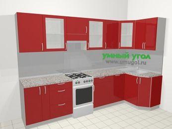 Угловая кухня МДФ глянец в современном стиле 6,3 м², 300 на 120 см, Красный, верхние модули 72 см, посудомоечная машина, отдельно стоящая плита