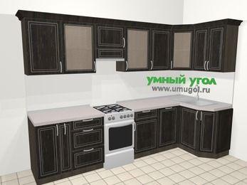 Угловая кухня МДФ патина в классическом стиле 6,3 м², 300 на 120 см, Венге, верхние модули 72 см, посудомоечная машина, отдельно стоящая плита