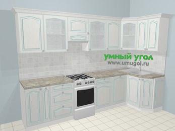 Угловая кухня МДФ патина в стиле прованс 6,3 м², 300 на 120 см, Лиственница белая, верхние модули 72 см, посудомоечная машина, отдельно стоящая плита