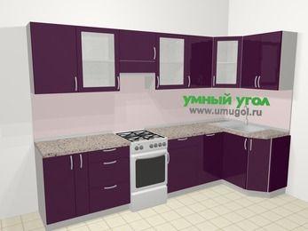 Угловая кухня МДФ глянец в современном стиле 6,3 м², 300 на 120 см, Баклажан, верхние модули 72 см, посудомоечная машина, отдельно стоящая плита