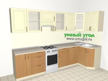 Угловая кухня из МДФ + ЛДСП 6,3 м², 3000 на 1200 мм, Ваниль / Ольха, верхние модули 720 мм, посудомоечная машина, отдельно стоящая плита