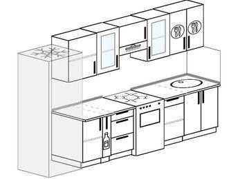 Планировка прямой кухни 6,0 м², 300 см: верхние модули 72 см, холодильник, корзина-бутылочница, отдельно стоящая плита