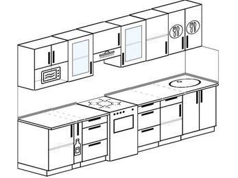 Планировка прямой кухни 6,0 м², 300 см: верхние модули 72 см, корзина-бутылочница, отдельно стоящая плита, модуль под свч