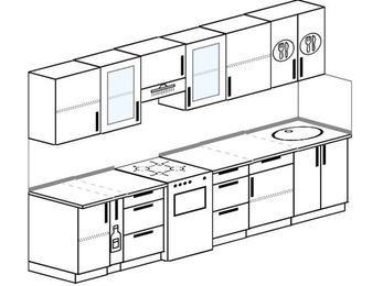 Планировка прямой кухни 6,0 м², 300 см: верхние модули 72 см, корзина-бутылочница, отдельно стоящая плита