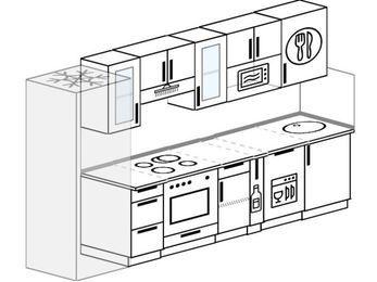 Планировка прямой кухни 6,0 м², 300 см: верхние модули 72 см, холодильник, встроенный духовой шкаф, корзина-бутылочница, посудомоечная машина, модуль под свч