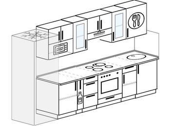 Планировка прямой кухни 6,0 м², 300 см: верхние модули 72 см, холодильник, корзина-бутылочница, встроенный духовой шкаф, модуль под свч
