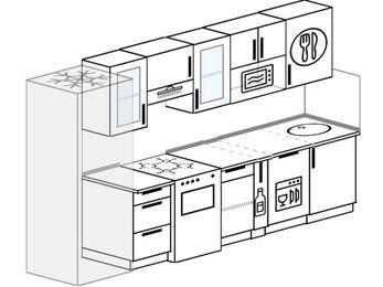 Планировка прямой кухни 6,0 м², 300 см: верхние модули 72 см, холодильник, отдельно стоящая плита, корзина-бутылочница, посудомоечная машина, модуль под свч