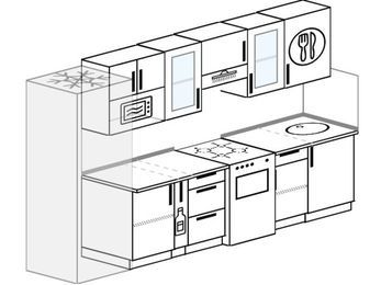 Планировка прямой кухни 6,0 м², 300 см: верхние модули 72 см, холодильник, корзина-бутылочница, отдельно стоящая плита, модуль под свч