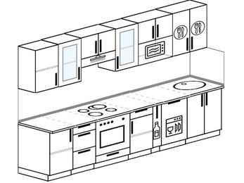 Планировка прямой кухни 6,0 м², 300 см: верхние модули 72 см, встроенный духовой шкаф, корзина-бутылочница, посудомоечная машина, модуль под свч