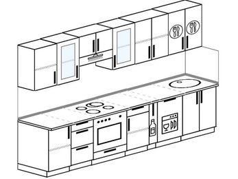 Планировка прямой кухни 6,0 м², 300 см: верхние модули 72 см, встроенный духовой шкаф, корзина-бутылочница, посудомоечная машина
