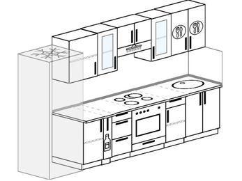 Планировка прямой кухни 6,0 м², 300 см: верхние модули 72 см, холодильник, корзина-бутылочница, встроенный духовой шкаф