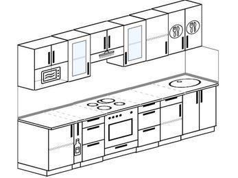 Планировка прямой кухни 6,0 м², 300 см: верхние модули 72 см, корзина-бутылочница, встроенный духовой шкаф, модуль под свч