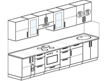 Планировка прямой кухни 6,0 м², 300 см: верхние модули 72 см, корзина-бутылочница, встроенный духовой шкаф