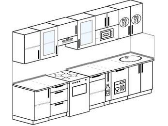 Планировка прямой кухни 6,0 м², 300 см: верхние модули 72 см, отдельно стоящая плита, корзина-бутылочница, посудомоечная машина, модуль под свч