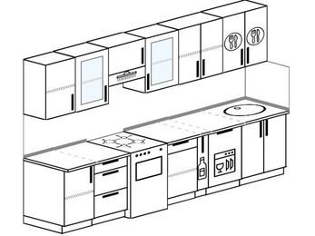 Планировка прямой кухни 6,0 м², 300 см: верхние модули 72 см, отдельно стоящая плита, корзина-бутылочница, посудомоечная машина