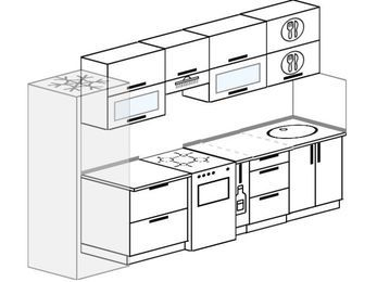 Планировка прямой кухни 6,0 м², 300 см: верхние модули 72 см, холодильник, отдельно стоящая плита, корзина-бутылочница