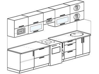 Планировка прямой кухни 6,0 м², 300 см: верхние модули 72 см, отдельно стоящая плита, корзина-бутылочница, модуль под свч