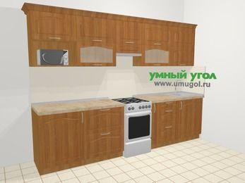 Прямая кухня МДФ матовый в классическом стиле 6,0 м², 300 см, Вишня, верхние модули 72 см, модуль под свч, отдельно стоящая плита