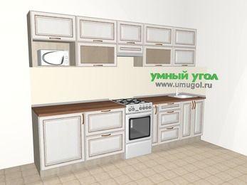 Прямая кухня МДФ патина 6,0 м², 3000 мм, Лиственница белая, верхние модули 720 мм, модуль под свч, отдельно стоящая плита