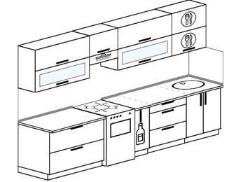 Прямая кухня 6,0 м² (3,0 м), верхние модули 72 см, отдельно стоящая плита