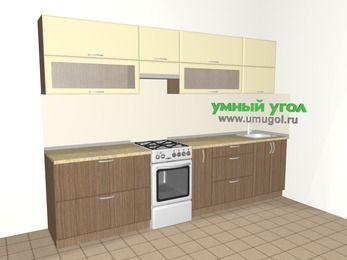 Прямая кухня МДФ матовый 6,0 м², 3000 мм, Ваниль / Лиственница бронзовая, верхние модули 720 мм, отдельно стоящая плита