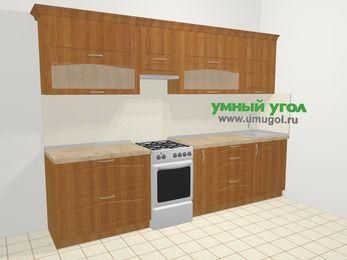 Прямая кухня МДФ матовый в классическом стиле 6,0 м², 300 см, Вишня, верхние модули 72 см, отдельно стоящая плита