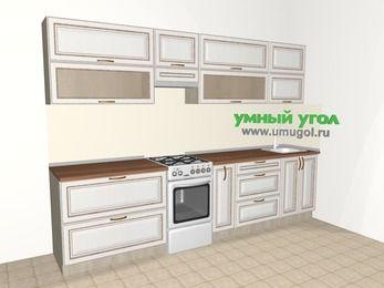 Прямая кухня МДФ патина 6,0 м², 3000 мм, Лиственница белая, верхние модули 720 мм, отдельно стоящая плита