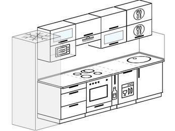 Планировка прямой кухни 6,0 м², 300 см: верхние модули 72 см, холодильник, встроенный духовой шкаф, корзина-бутылочница, посудомоечная машина, верхний модуль под свч