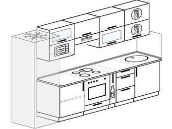 Планировка прямой кухни 6,0 м², 300 см: верхние модули 72 см, холодильник, встроенный духовой шкаф, корзина-бутылочница, верхний модуль под свч