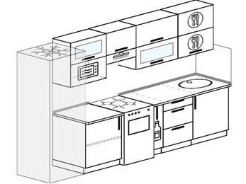 Планировка прямой кухни 6,0 м², 300 см: верхние модули 72 см, холодильник, отдельно стоящая плита, корзина-бутылочница, верхний модуль под свч