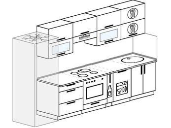 Планировка прямой кухни 6,0 м², 300 см: верхние модули 72 см, холодильник, встроенный духовой шкаф, корзина-бутылочница, посудомоечная машина