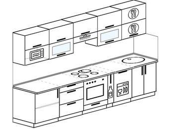 Прямая кухня 6,0 м² (3,0 м), верхние модули 72 см, посудомоечная машина, модуль под свч, встроенный духовой шкаф