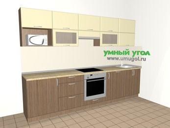 Прямая кухня МДФ матовый 6,0 м², 3000 мм, Ваниль / Лиственница бронзовая, верхние модули 720 мм, посудомоечная машина, модуль под свч, встроенный духовой шкаф