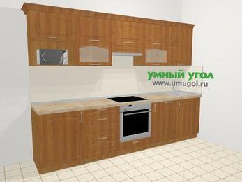 Прямая кухня МДФ матовый в классическом стиле 6,0 м², 300 см, Вишня, верхние модули 72 см, посудомоечная машина, модуль под свч, встроенный духовой шкаф